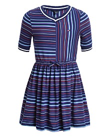 Tommy Hilfiger Big Girls Striped V-Neck Jersey Dress