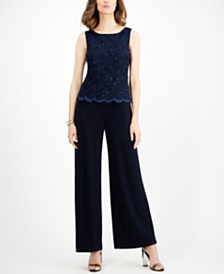 Connected Embellished Lace-Overlay Jumpsuit