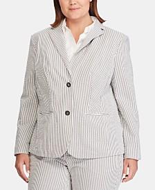 Lauren Ralph Lauren Plus-Size Seersucker Blazer