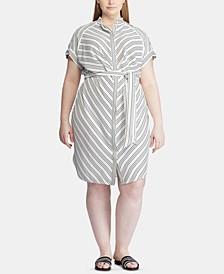 Plus-Size Stripe-Print Crepe Shirtdress