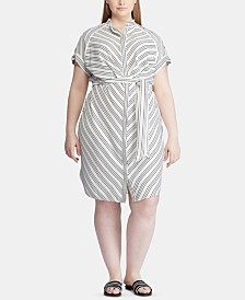 Lauren Ralph Lauren Plus-Size Stripe-Print Crepe Shirtdress