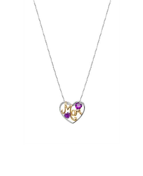 Macy's Created Ruby(1-5/8 c.t.tw.) Mom Heart Pendant Necklace in 18k Gold & Sterling Silver(Also Available In Blue Topaz & Amethyst)