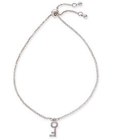 Silver-Tone Micro-Pavé Key Slider Bracelet