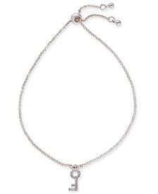 Kitsch Silver-Tone Micro-Pavé Key Slider Bracelet