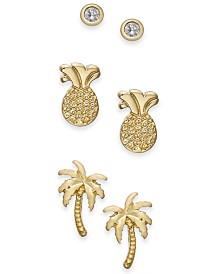 Kitsch Gold-Tone 3-Pc. Set Tropical Stud Earrings