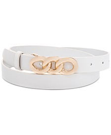 I.N.C. Chain-Link-Buckle Leather Belt, Created for Macy's