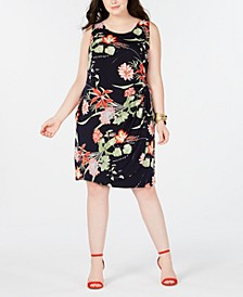 Trendy Plus Size Floral-Print Faux-Wrap Dress