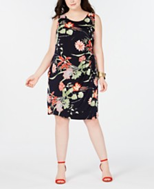 Robbie Bee Trendy Plus Size Floral-Print Faux-Wrap Dress