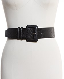 INC Stretch Snake-Embossed Belt, Created for Macy's