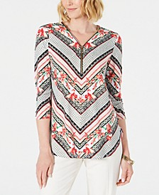 Petite Printed Zip-Neck Tunic, Created for Macy's