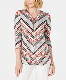 JM Collection Petite Printed Zip-Neck Tunic, Created for Macy's