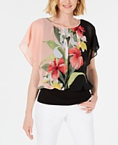 b25aff8e70e JM Collection Printed Flutter-Sleeve Top, Created for Macy's