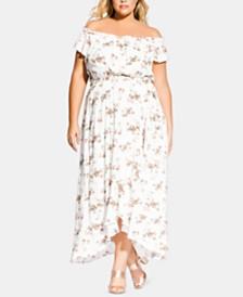 City Chic Trendy Plus Size Floral-Print Off-The-Shoulder Dress
