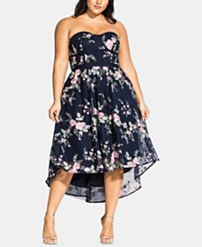 City Chic Trendy Plus Size Aphrodite Floral-Embroidered High-Low Dress