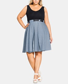 City Chic Trendy Plus Size Poplin-Stripe Dress