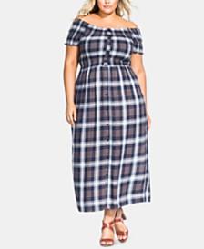 City Chic Trendy Plus Size Rebel Plaid Off The Shoulder Dress