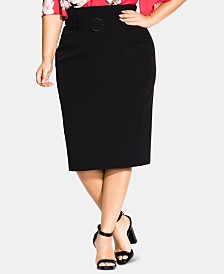 City Chic Trendy Plus Size Belted Skirt