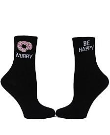 SOCK TALK Ladies' Crew Socks DON'T WORRY BE HAPPY