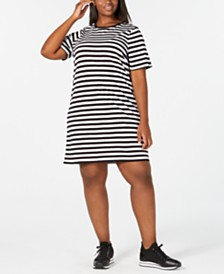 MICHAEL Michael Kors Plus Size Striped T-Shirt Dress