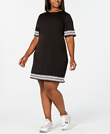 Plus Size Solid Border Crewneck Dress