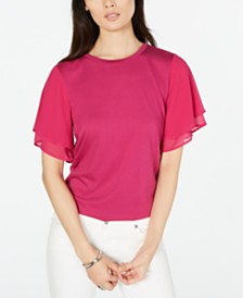 MICHAEL Michael Kors Flutter-Sleeve Top, Regular & Petite Sizes