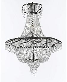 Swarovski Crystal Trimmed Empire Chandelier with Dark Antique Finish