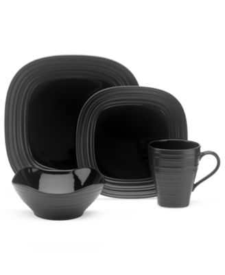... square dinnerware from Mikasa enhances casual meals with fuss-free elegance. A matte finish with glazed accents adds stylish distinction to sleek black.  sc 1 st  Macyu0027s & Mikasa Dinnerware Swirl Black Collection - Dinnerware - Dining ...