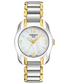 Tissot Watch, Women's Swiss T-Wave Two Tone Stainless Steel Bracelet 28x26mm T0232102211700