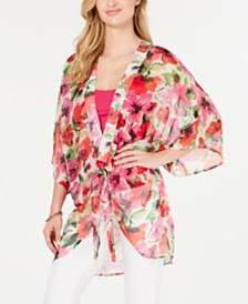 I.N.C. Painterly Floral Print Plus-Size Kimono, Created for Macy's
