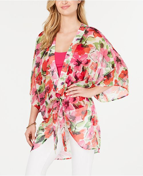 INC International Concepts I.N.C. Painterly Floral Print Plus-Size Kimono, Created for Macy's