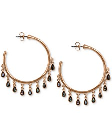 Lucky Brand Rose Gold-Tone Shaky Imitation Abalone Small Hoop Earrings
