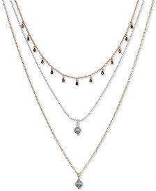 "Lucky Brand Tri-Tone Imitation Tahitian Pearl Adjustable Three-Row Necklace, 24-1/2"" + 2"" extender"