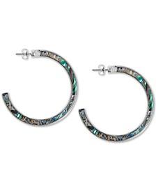 Lucky Brand Silver-Tone Marble-Look Stone Medium Hoop Earrings