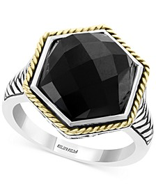 EFFY® Onyx (12 x 14-1/2mm) Two-Tone Statement Ring in Sterling Silver & 18k Gold-Plate