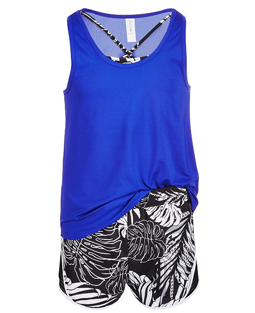 Ideology Big Girls Mesh Tank Top & Shorts, Created for Macy's