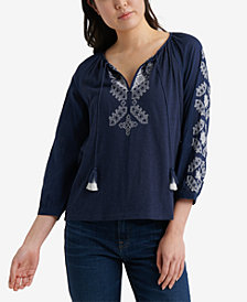 Lucky Brand Embroidered 3/4 Sleeve Peasant Top