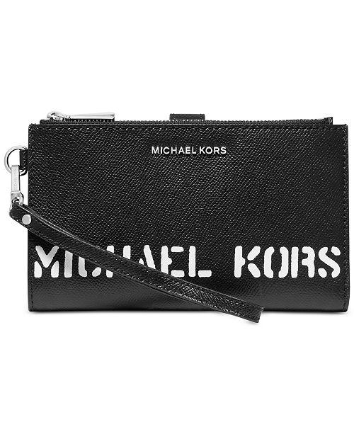 Michael Kors Logo Double Zip Wristlet
