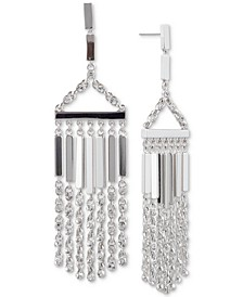 Silver-Tone Crystal Chain Fringe Chandelier Earrings