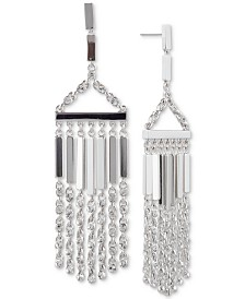 Givenchy Silver-Tone Crystal Chain Fringe Chandelier Earrings