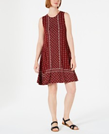 Style & Co Printed Sleeveless Swing Dress, Created for Macy's