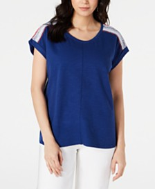 Style & Co Mixed Media Scoop-Neck Top, Created for Macy's