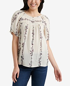 Floral-Print Puffed-Sleeve Top