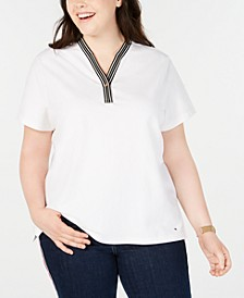 Plus Size Piqué Henley T-Shirt, Created for Macy's