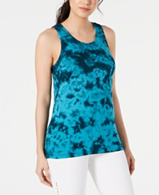 Ideology Tie-Dyed Lattice-Back Tank Top, Created for Macy's