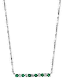 "EFFY® Emerald (3/8 ct. t.w.) & Diamond Accent Bar 18"" Pendant Necklace in 14k White Gold"