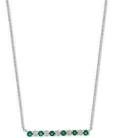 "EFFY® Emerald (3/8 ct. t.w.) & Diamond Accent Bar 18"" Pendant Necklace in 14k White Gold"