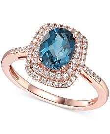 London Blue Topaz (1-3/8 ct. t.w.) & Diamond (1/4 ct. t.w.) Statement Ring in 14k Rose Gold