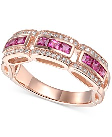 Certified Ruby (3/4 ct. t.w.) & Diamond (1/5 ct. t.w.) Ring in 14k Gold(Also Available In Emerald & Sapphire)