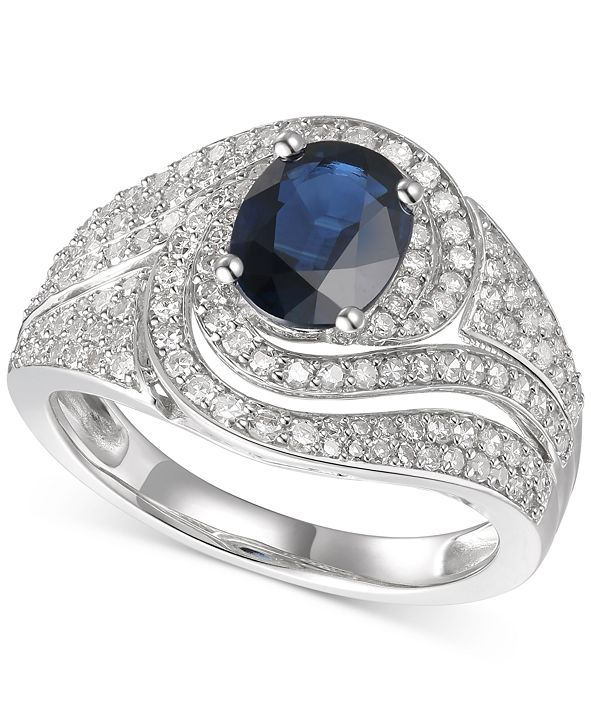 Macy's Sapphire (1-1/3 ct. t.w.) & Diamond (3/4 ct. t.w.) Statement Ring in 14k Gold(Also Available In Certified Ruby)