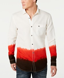 I.N.C. Men's Regular-Fit Textured Dip-Dyed Shirt, Created for Macy's